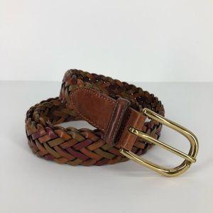 Trafalgar 38 Mens Belt Woven Brown Leather Braided
